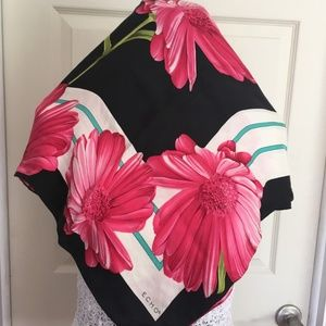 Echo Twill Silk Floral Black and Hot Pink Scarf